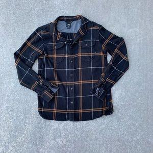 Vans men's medium black plaid flannel shirt